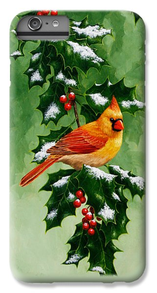 Female Cardinal And Holly Phone Case IPhone 6 Plus Case by Crista Forest