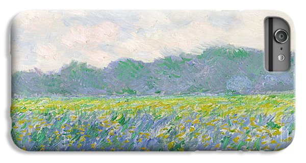 Landscapes iPhone 6 Plus Case - Field Of Yellow Irises At Giverny by Claude Monet