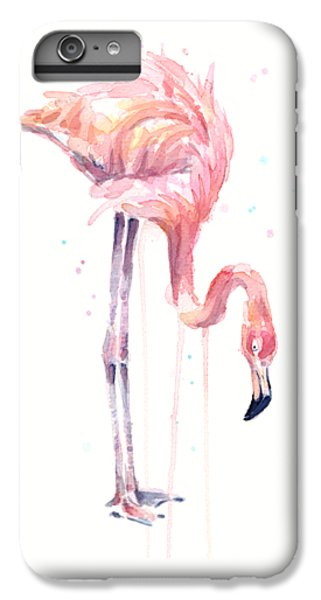 Flamingo Illustration Watercolor - Facing Left IPhone 6 Plus Case by Olga Shvartsur