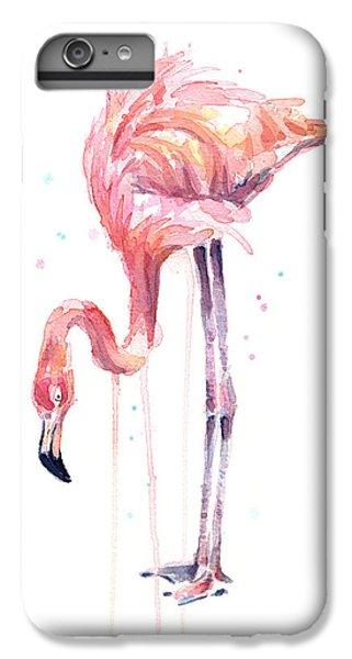 Flamingo iPhone 6 Plus Case - Flamingo Illustration Watercolor - Facing Left by Olga Shvartsur