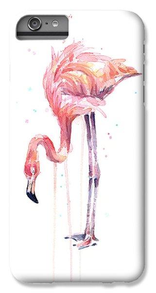 Flamingo iPhone 6 Plus Case - Flamingo Watercolor - Facing Left by Olga Shvartsur