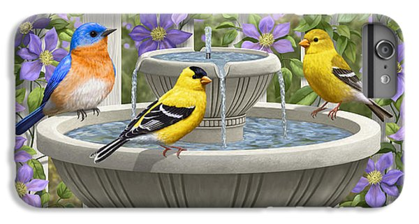 Fountain Festivities - Birds And Birdbath Painting IPhone 6 Plus Case by Crista Forest