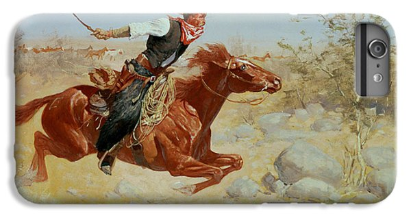 Horse iPhone 6 Plus Case - Galloping Horseman by Frederic Remington