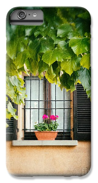 IPhone 6 Plus Case featuring the photograph Geraniums On Windowsill by Silvia Ganora