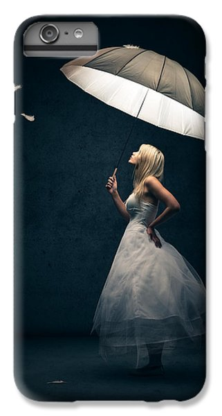 Beautiful iPhone 6 Plus Case - Girl With Umbrella And Falling Feathers by Johan Swanepoel