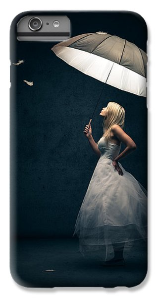 Fantasy iPhone 6 Plus Case - Girl With Umbrella And Falling Feathers by Johan Swanepoel