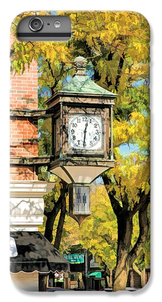 IPhone 6 Plus Case featuring the painting Glen Ellyn Corner Clock by Christopher Arndt
