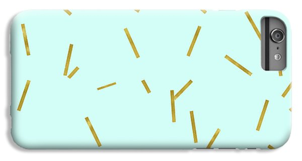Glitter Confetti On Aqua Gold Pick Up Sticks Pattern IPhone 6 Plus Case by Tina Lavoie