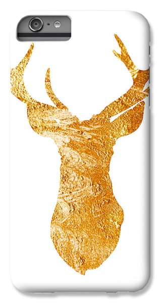Gold Deer Silhouette Watercolor Art Print IPhone 6 Plus Case by Joanna Szmerdt