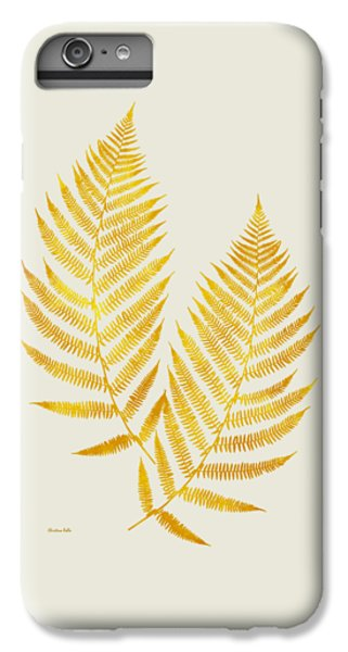 IPhone 6 Plus Case featuring the mixed media Gold Fern Leaf Art by Christina Rollo