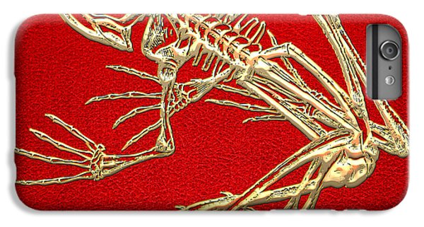 Gold Frog Skeleton On Red Leather IPhone 6 Plus Case