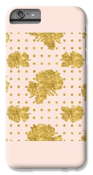 Golden Gold Blush Pink Floral Rose Cluster W Dot Bedding Home Decor IPhone 6 Plus Case by Audrey Jeanne Roberts
