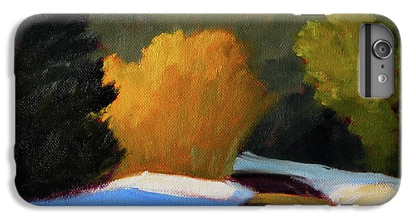 IPhone 6 Plus Case featuring the painting Golden Light Winter Road by Nancy Merkle