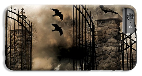 Gothic Surreal Fantasy Ravens Gated Fence  IPhone 6 Plus Case by Kathy Fornal