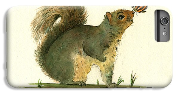 Squirrel iPhone 6 Plus Case - Gray Squirrel Butterfly by Juan Bosco