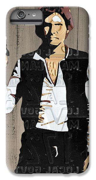 Han Solo iPhone 6 Plus Case - Han Solo Vintage Recycled Metal License Plate Art Portrait On Barn Wood by Design Turnpike