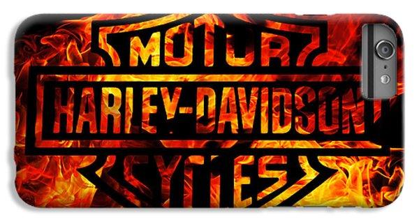 Motorcycle iPhone 6 Plus Case - Harley Davidson Logo Flames by Randy Steele