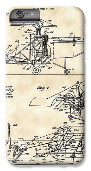 Helicopter iPhone 6 Plus Case - Helicopter Patent 1940 - Vintage by Stephen Younts