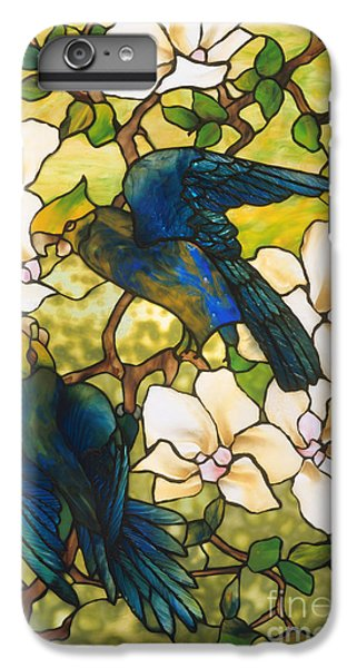 Hibiscus And Parrots IPhone 6 Plus Case by Louis Comfort Tiffany