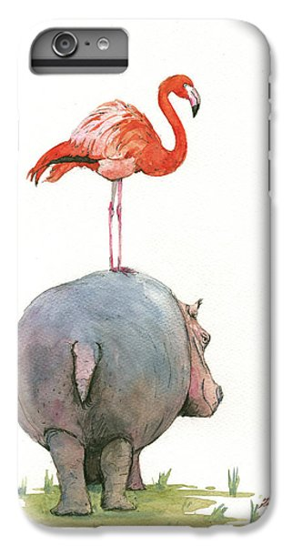 Hippo With Flamingo IPhone 6 Plus Case by Juan Bosco