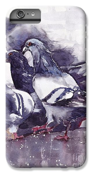 Sparrow iPhone 6 Plus Case - Hungry Pigeons Watercolor by Suzann's Art