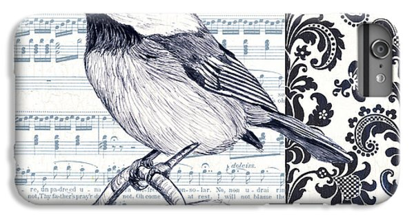 Chickadee iPhone 6 Plus Case - Indigo Vintage Songbird 2 by Debbie DeWitt