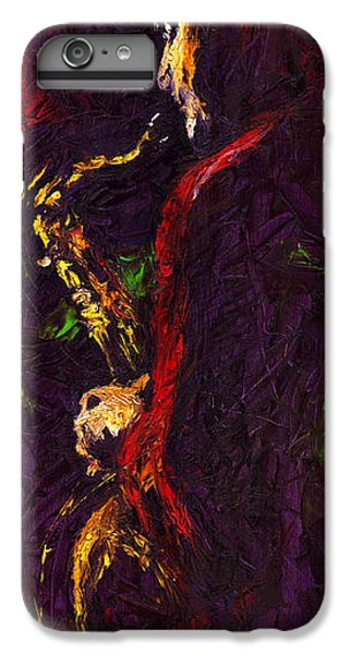 Jazz iPhone 6 Plus Case - Jazz Red Saxophonist by Yuriy Shevchuk