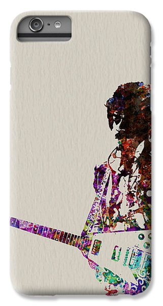 Rock And Roll iPhone 6 Plus Case - Jimmy Hendrix With Guitar by Naxart Studio