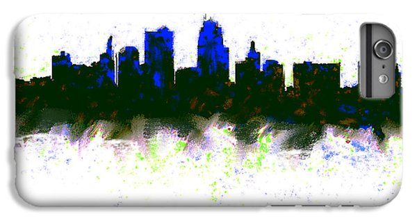 Kansas City Skyline Blue  IPhone 6 Plus Case by Enki Art