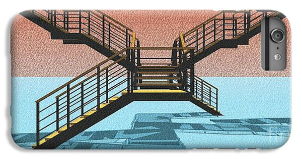 Large Stair 38 On Cyan And Strange Red Background Abstract Arhitecture IPhone 6 Plus Case by Pablo Franchi