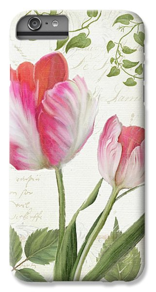 Les Magnifiques Fleurs IIi - Magnificent Garden Flowers Parrot Tulips N Indigo Bunting Songbird IPhone 6 Plus Case by Audrey Jeanne Roberts