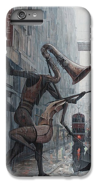 Saxophone iPhone 6 Plus Case - Life Is  Dance In The Rain by Adrian Borda