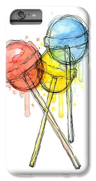 Blue iPhone 6 Plus Case - Lollipop Candy Watercolor by Olga Shvartsur