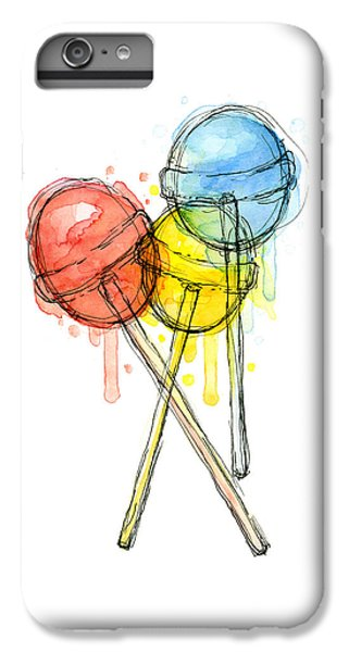 Lollipop Candy Watercolor IPhone 6 Plus Case by Olga Shvartsur