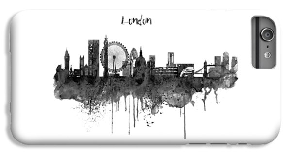 London Black And White Skyline Watercolor IPhone 6 Plus Case by Marian Voicu