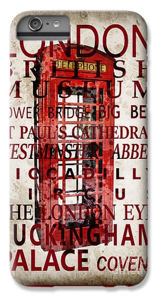 London Eye iPhone 6 Plus Case - London Vintage Poster Red by Delphimages Photo Creations