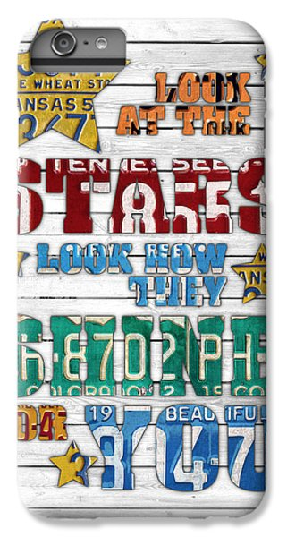 Look At The Stars Coldplay Yellow Inspired Typography Made Using Vintage Recycled License Plates V2 IPhone 6 Plus Case by Design Turnpike