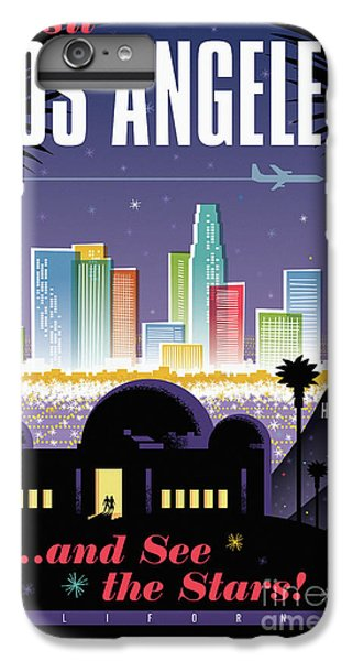 Los Angeles Retro Travel Poster IPhone 6 Plus Case by Jim Zahniser