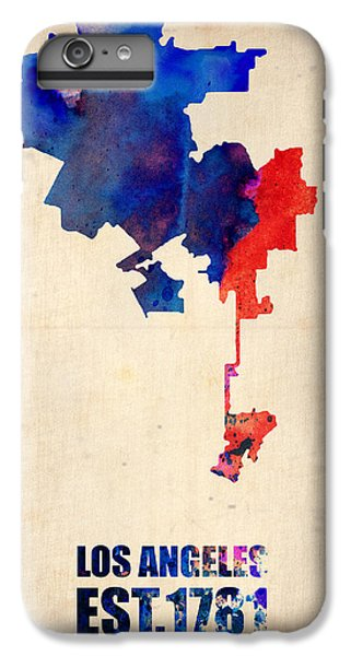 Los Angeles iPhone 6 Plus Case - Los Angeles Watercolor Map 1 by Naxart Studio