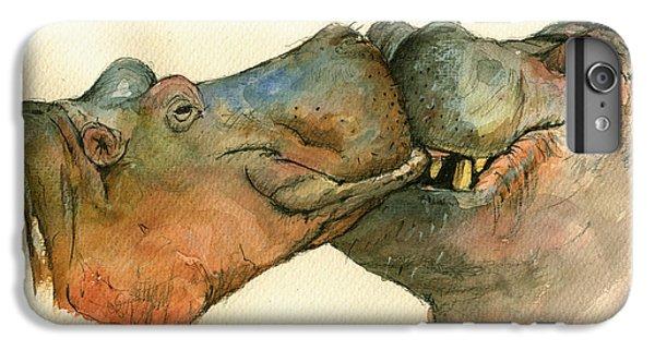 Love Between Hippos IPhone 6 Plus Case by Juan  Bosco