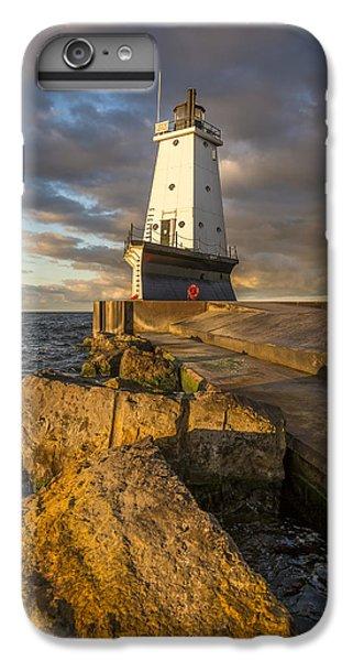 Marquette iPhone 6 Plus Case - Ludington North Breakwater Lighthouse At Sunrise by Adam Romanowicz