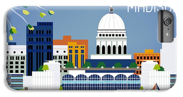 Madison Wisconsin Horizontal Skyline IPhone 6 Plus Case by Karen Young