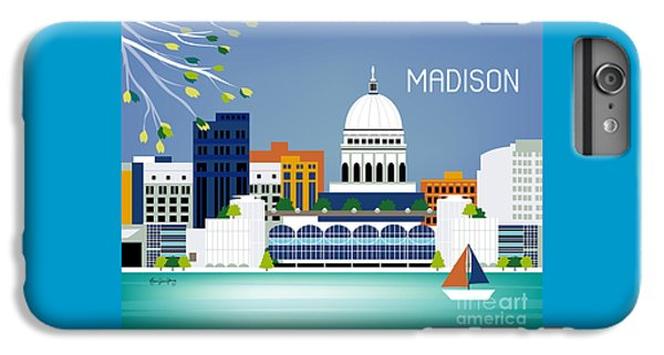 Capitol Building iPhone 6 Plus Case - Madison Wisconsin Horizontal Skyline by Karen Young