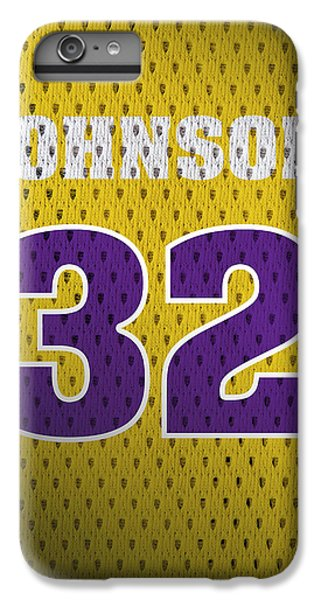 Magic Johnson Los Angeles Lakers Number 32 Retro Vintage Jersey Closeup Graphic Design IPhone 6 Plus Case