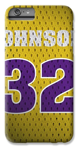 Magic Johnson Los Angeles Lakers Number 32 Retro Vintage Jersey Closeup Graphic Design IPhone 6 Plus Case by Design Turnpike