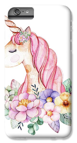 Floral iPhone 6 Plus Case - Magical Watercolor Unicorn by Lisa Spence