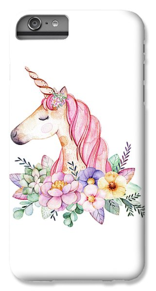 Unicorn iPhone 6 Plus Case - Magical Watercolor Unicorn by Lisa Spence