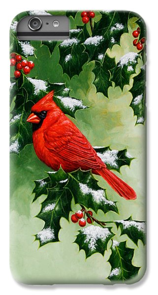 Male Cardinal And Holly Phone Case IPhone 6 Plus Case by Crista Forest