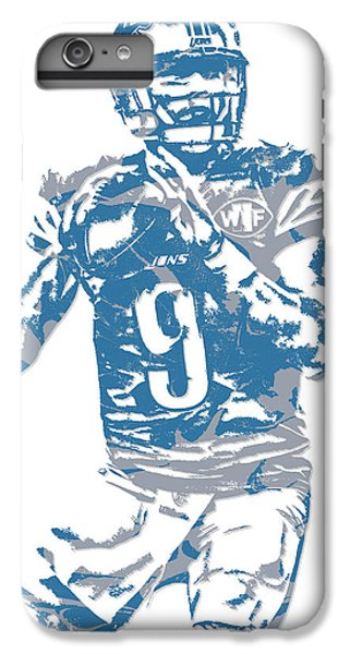 Lion iPhone 6 Plus Case - Matthew Stafford Detroit Lions Pixel Art 5 by Joe Hamilton