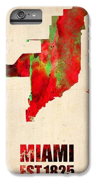 Miami iPhone 6 Plus Case - Miami Watercolor Map by Naxart Studio